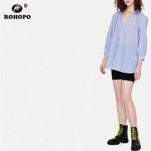 ROHOPO Sky Blue Autumn Chic Blouse Three Quarter Sleeve V Collar Pullover Tops Cotton Shirt #AZ9288