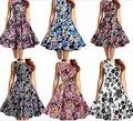 Бесплатная доставка женщин старинные одри цветочный 1950 s ретро рокабилли вечер качели ну вечеринку платье S-2XL