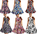 free shipping  Women's Vintage Audrey Floral 1950s Retro Rockabilly Evening Swing Party Dress S-2XL