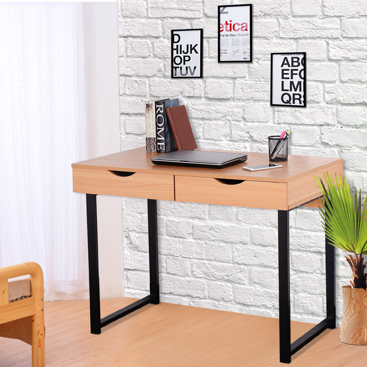 Giantex Modern Computer Desk Home Office Furniture Workstation Table Steel Frame Wood Laptop Desk With 2 Drawers HW54145 bedroom home furniture dresser table with 2 drawers mirror and stool neoclassical style kd packaged wooden carved materials
