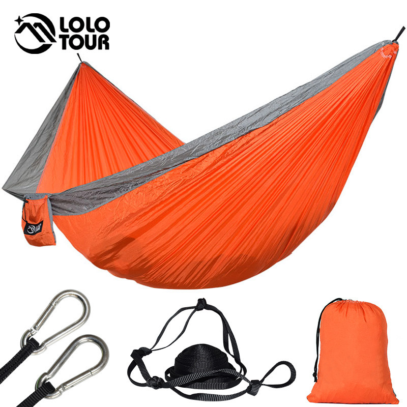 купить Durable 2 Persons Nylon Hammock 210T Parachute Hangmat Sleep Outdoor Camping Hamac Hanging Sleeping Bed 300*175cm по цене 1621.74 рублей