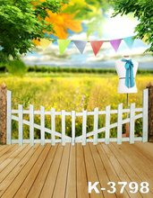 5ft*7ft For Children Kids Baby Photograph Studio Art Photos Background Backdrops Nature Green Scenery Wooden Floor Fence Stand