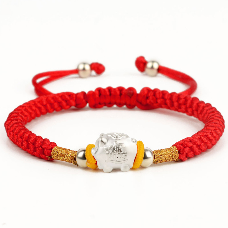 Real S925 Silver Bracelet Red Rope Zodiac Pig Year Animal Lover Gift 16cmL New Real S925 Silver Bracelet Red Rope Zodiac Pig Year Animal Lover Gift 16cmL New
