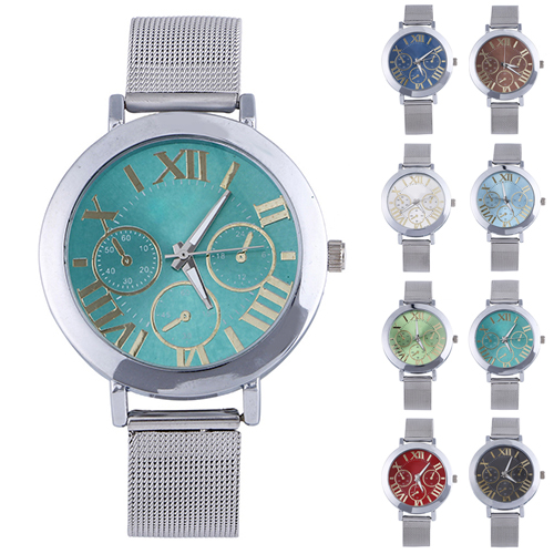 2015 New Colorful Dial Women's Men's Roman Numerals Analog Quartz Silver Tone Mesh Band Wrist Watch Relogio Masculino Clock 8HSF