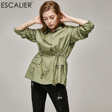 ESCALIER Big code military style Coat Women font b Slim b font Cotton Casual Long Trench