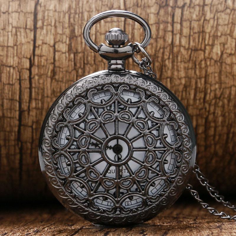 09cc544ec4e Teia de Aranha do vintage Bronze Quartzo Relógio de Bolso Cadeia Colar  Antigo pingente de Mulheres Homens Fob Relógios de Moda Relógio de Presente