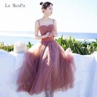 La MaxPa 2018 summer new women's retro gentle wind large mesh gauze strap dress dress even dress long paragraph