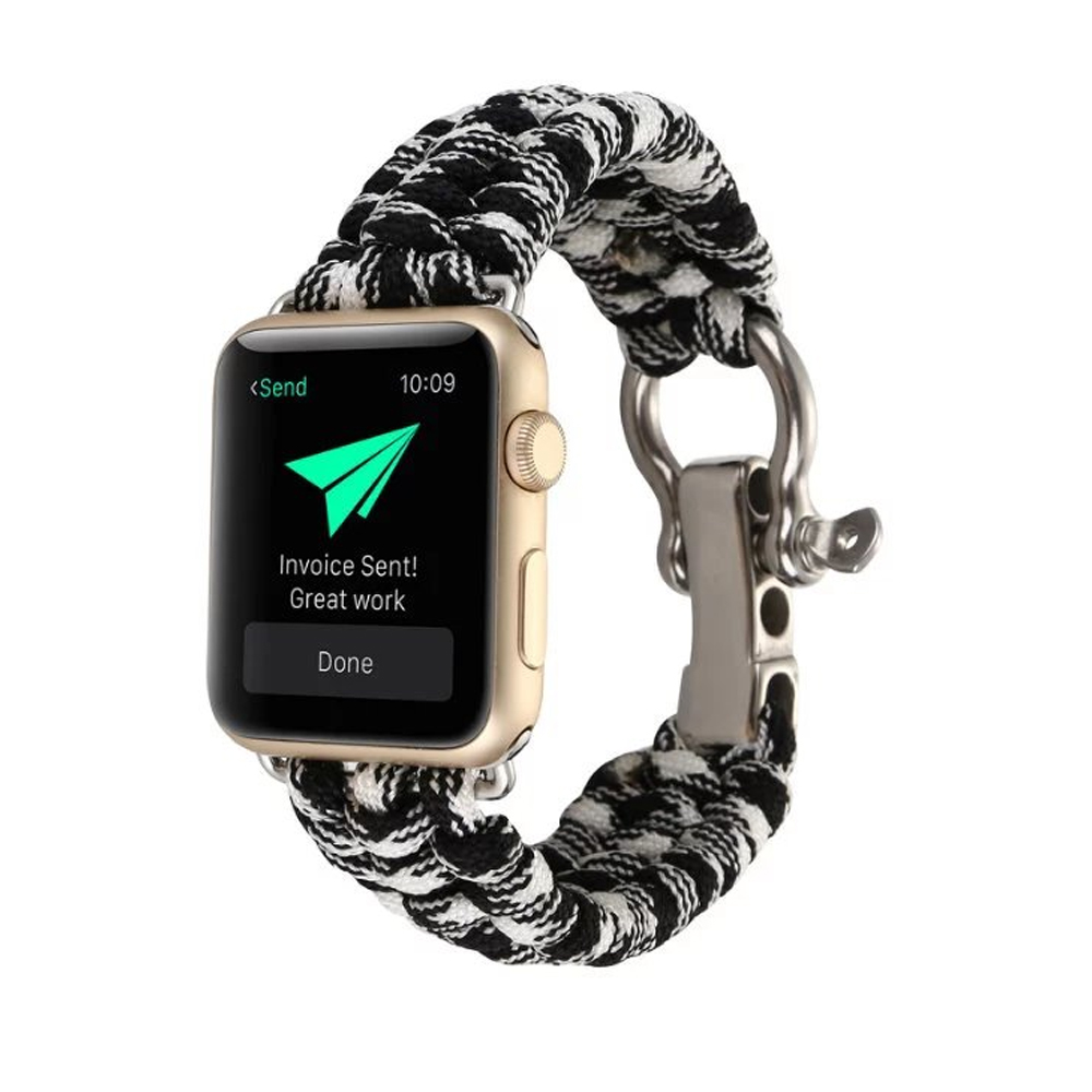 CRESTED umbrella rope watch strap band for apple watch series 3/2/1 iwatch 42mm 38mm bracelet wrist belt with metal buckle