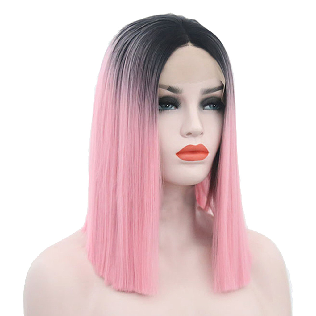 Natural Lace Front Wigs for Black Women Synthetic Hair Middle Part Wig Pink Straight Hair Style