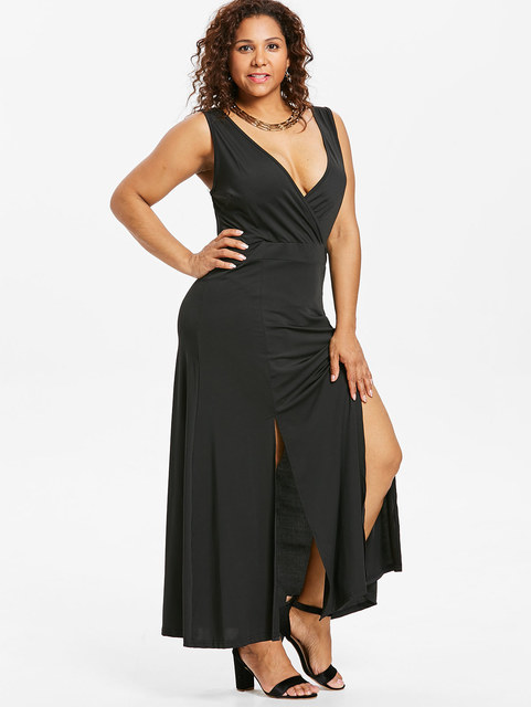 7ad4b7ae4ac Sleeveless Surplice 3XL Plus Size Dress Low Cut Plunging Slit Sleeveless  Floor Length High Waisted Maxi Dress