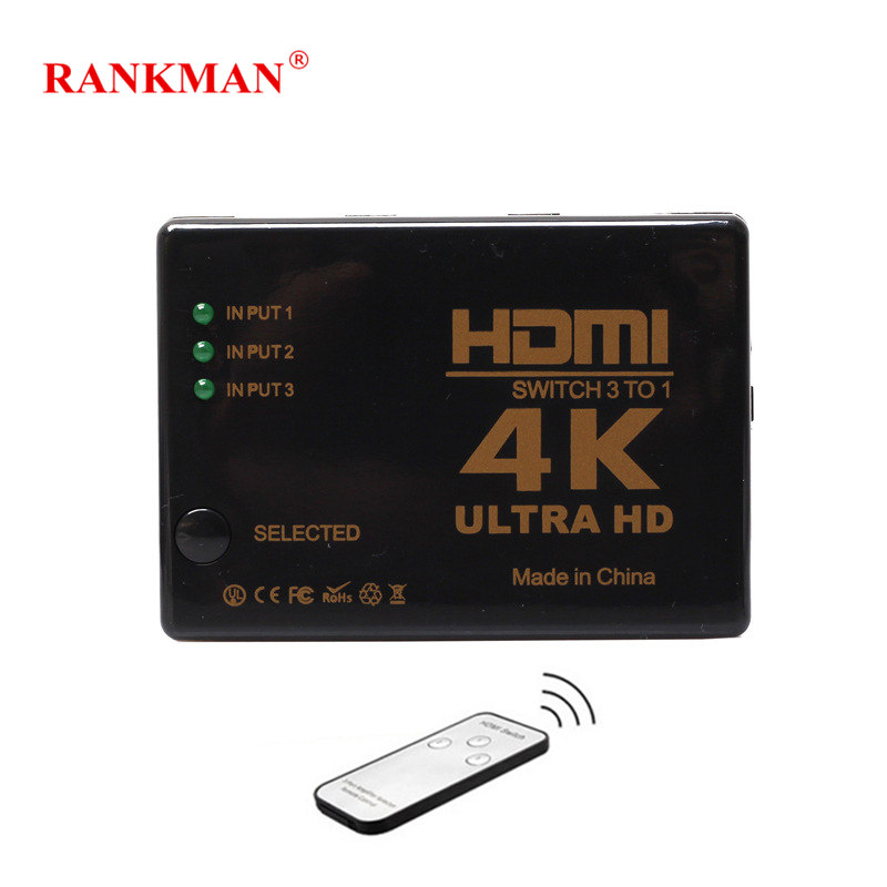 Rankman HDMI HUB 3 or 5 Ports switch in 1 1080P 4K HDMI Switcher 3X1 5X1 HDMI Splitter with IR Remote for HDTV DVD PS3