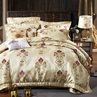 Royal Jacquard Embroidered Bedding Sets wedding lace Quilted Bedspreads King Sizes silk satin cotton Duvet Cover 4/5 pcs adults