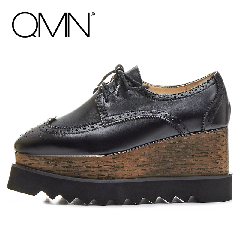 QMN woman genuine leather platform flats Women Laser Cut Smooth Cow Leather Oxfords Women Square Toe Brogue Shoes Woman 34-42 qmn women genuine leather platform flats women laser cut square toe brogue shoes woman oxfords women leather creepers 34 42