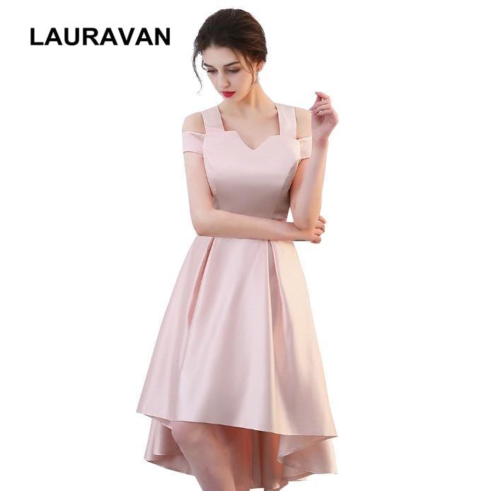 robe princesse girl pink elegant   bridesmaid     dresses   high low short front long back women's off shoulder simple bridal   dress