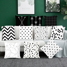 Nordic Home Cushion covers Cotton linen Black Geometric throw pillows Sofa decorative pillow cover car pillowcase цены