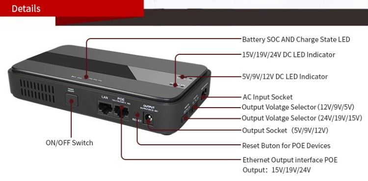 45W Mini Portable UPS with 151924VDC POE (Power Over Ethernet) & 5912VDC Interface Wide 85~265VAC Voltage Adapter Built-in_10