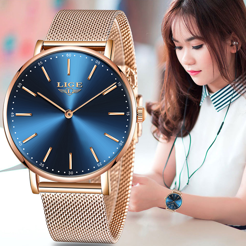 LIGE Woman Watches Fashion Lady Quartz Watches Ultra-thin Stainless Steel Watchband Waterproof Wristwatches Gift For Girl ClockLIGE Woman Watches Fashion Lady Quartz Watches Ultra-thin Stainless Steel Watchband Waterproof Wristwatches Gift For Girl Clock