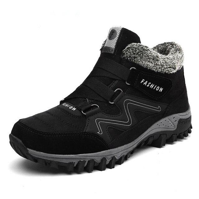 Men 겨울 Boots 와 Fur 2018 Warm 눈 Boots Casual Men Shoes Men 겨울 Boots Men 신발쏙 ~ 패션 고무 발목 신발 Work