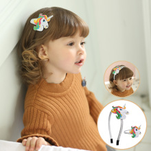 Korea Cute Crown Hair Accessories For Girls Clips  Cartoon Fashion Band Glitter Hairband Rainbow Hairpins