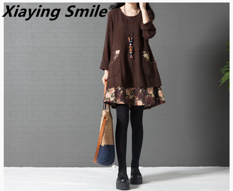 Xiaying ca Smile Women Biank Maternity Dress Female Fashion All Match O Neck loose Big Tie