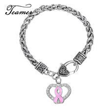 Teamer marque Design mode alliage de Zinc métal cristal émail rose Cancer du sein ruban coeur Bracelets porte-bonheur blé lien chaîne
