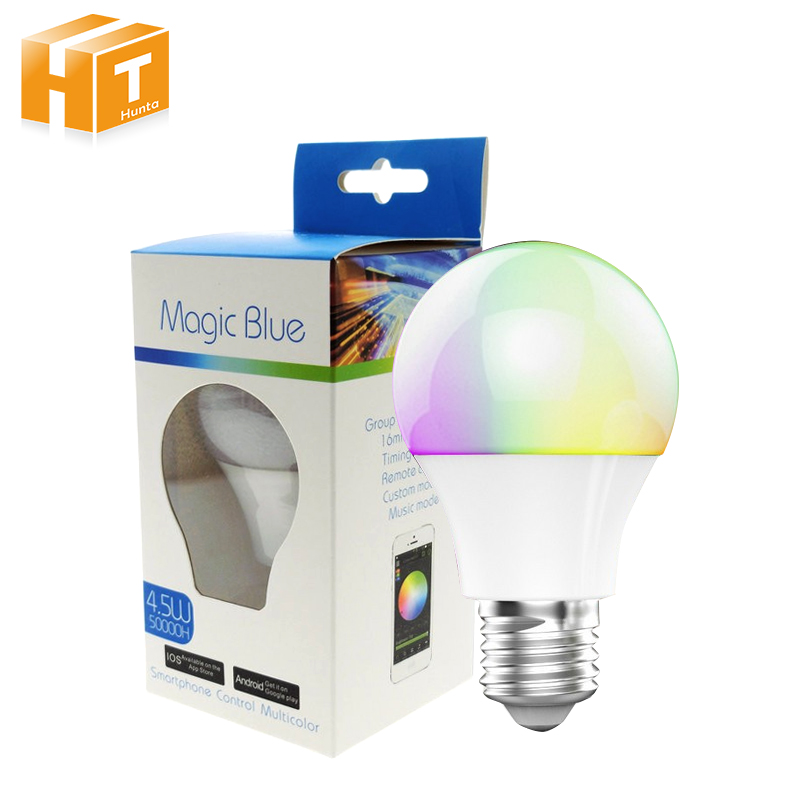 Bluetooth LED Bulb 4.5W E27 RGBW Bluetooth 4.0 Smart LED Light Color Change Dimmable by IOS / Android APP. icoco rgbw led light bulb wifi remote control smart lighting lamp color change dimmable led bulb for android ios phone