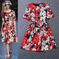 Customize Women Summer Autumn Fashion Casual Celebrity Runway Plus Size 3XS 10XL Flower Print A Line