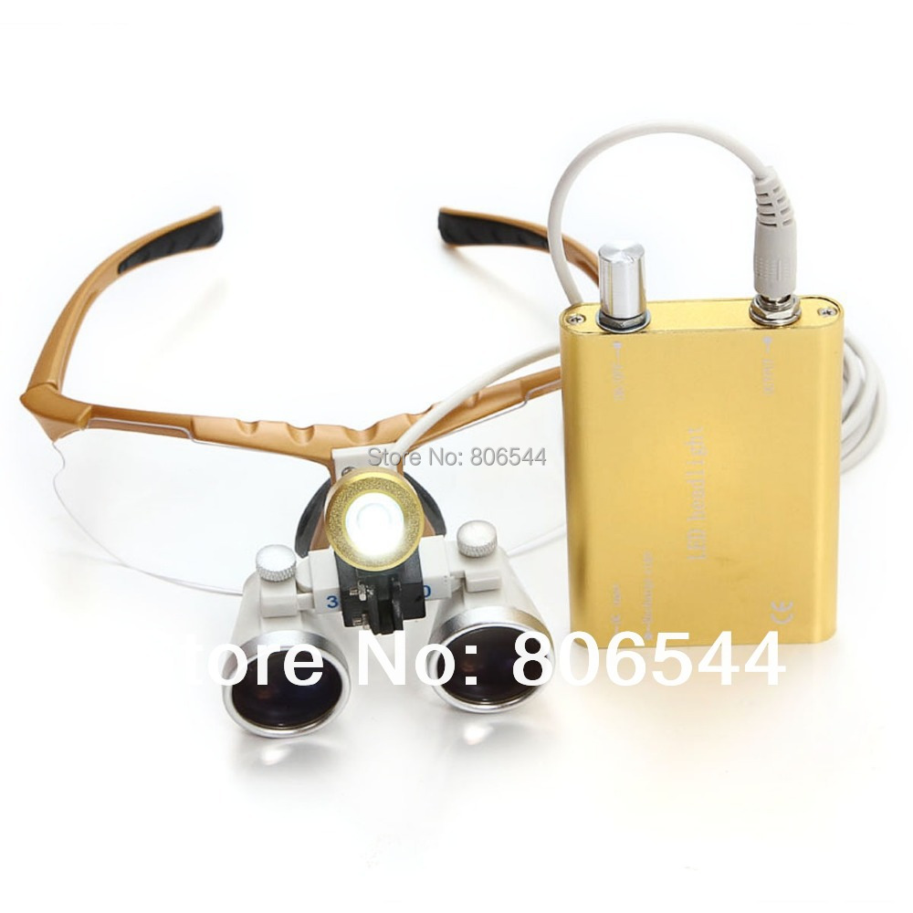 Brand New Dentist Dental Surgical Medical Binocular Loupes 3.5X 320mm Optical Glass Loupes + LED light lamp 188032