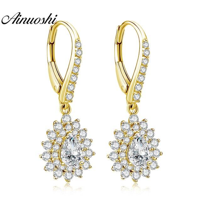 a17c29b9d AINUOSHI 10K Solid Yellow Gold Drop Earring SONA Diamond 1ct Pear Cut Click  Back Earring Droplet Halo Earring Women Jewelry Gift