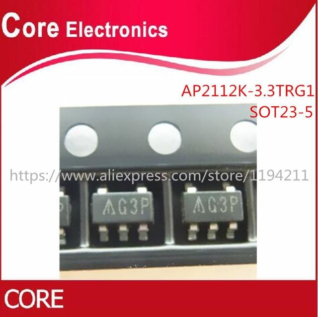 1000ピース/ロットAP2112K 3.3TRG1 ic reg ldo 3.3v 0.6A SOT25 2112 AP2112