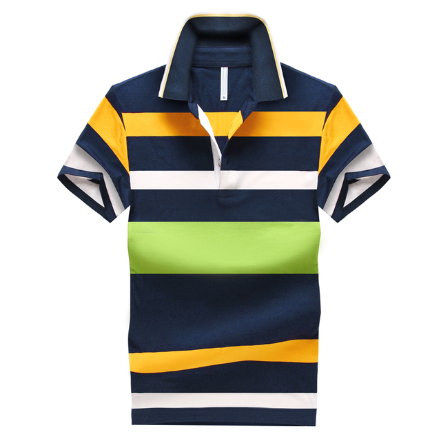 2016 Shirt Men Short Sleeve Polo Cotton Men Polo Shirt Casual Striped Slim Short Polo Brand Clothing Homme Free Shipping