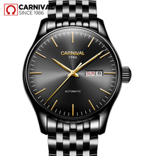 Carnival Watch Men Automatic Mechanical Black Stainless Steel Waterproof Week Date Watches