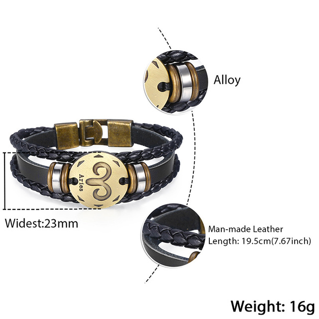 Leo Horoscope Leather Bracelet 5