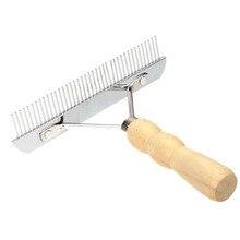 Т-образная многофункциональная расческа из нержавеющей стали для домашних животных, собак, кошек, плотных иголок, гребень с деревянной ручкой, инструмент для ухода за волосами