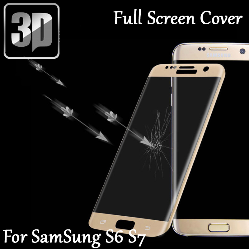 3D Tempered Glass LCD Curved Full screen protector Film cover For <font><b>Samsung</b></font> Galaxy S6 S7 <font><b>SM</b></font>-<font><b>G920</b></font> G930 A/F Protective film image