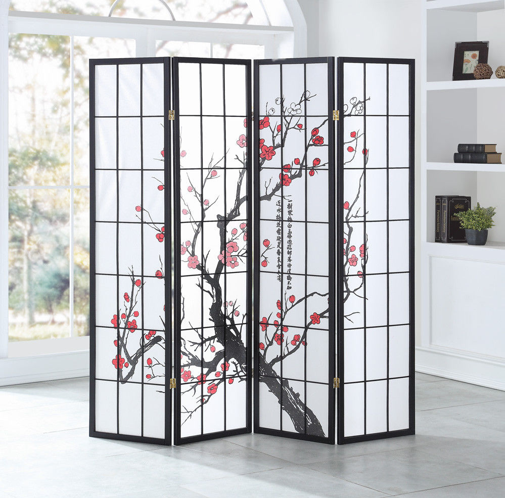Giantex 4 Panel Plum Blossom Room Divider Folding Privacy Divider Shoji Screen Home Furniture HW58840 tulle curtains 3d printed kitchen decorations window treatments american living room divider sheer voile curtain single panel