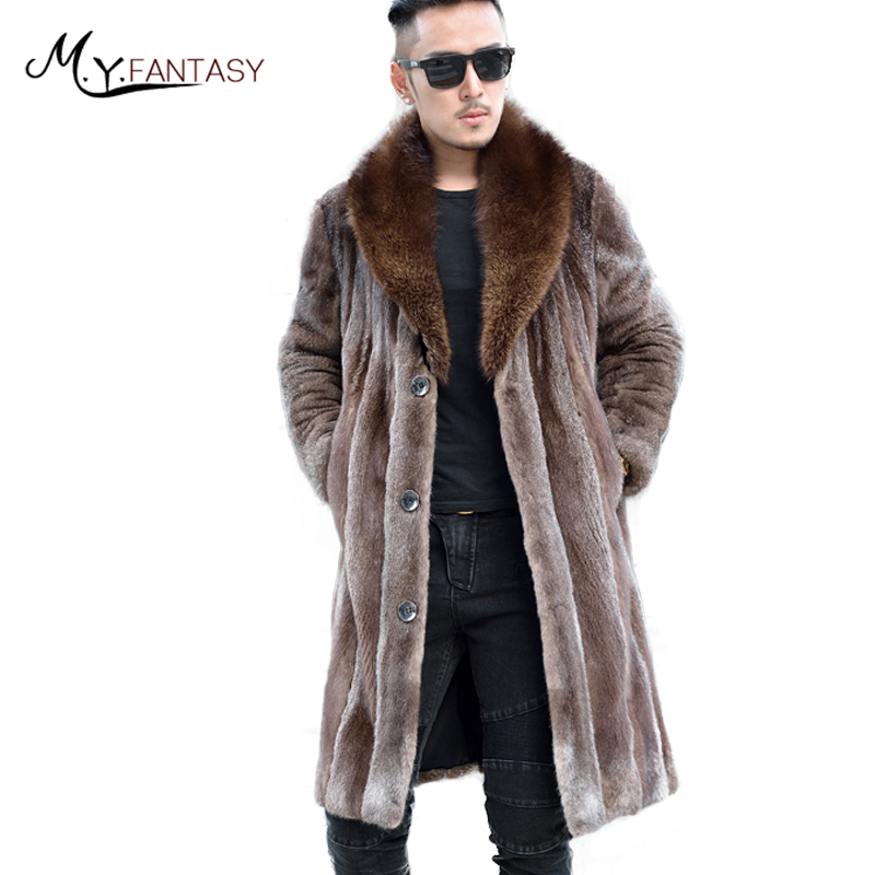 Jacket Coat Long-Sleeve Real-Fur Natural X-Long M.Y.FANSTY Turn-Down-Collar Mink Single-Breasted
