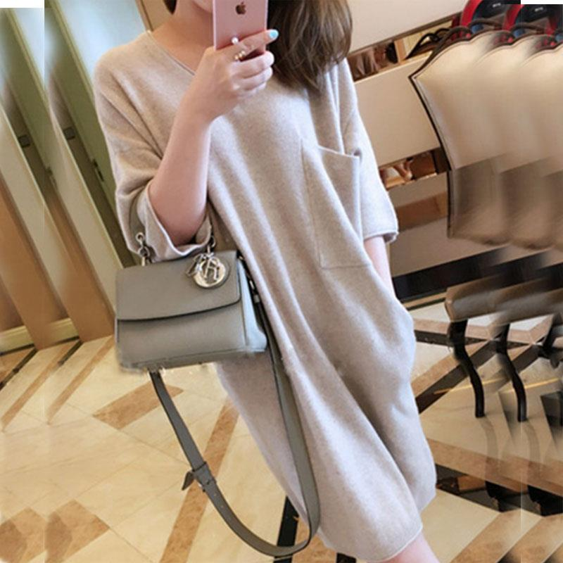 Autumn and winter long cashmere sweater knitted sweater V neck sleeve loose short half sleeved dress