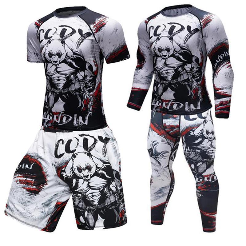 Men Gorilla Compression   Shirt   Rash Guard Long Sleeve BJJ Tops   T     Shirt   3D Print Gyms Fitness Bodybuilding Tights MMA Tee   Shirt