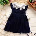 2016 spring&autumn new children clothing set fly sleeve dress+lace collar t sthirt baby girls casual clothes suit 2-7T kids