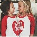 Olhar família T-Shirt Da Menina do Menino de Manga Longa Tops Tees Melhor amigo Roupas Família Roupas Combinando Para O Miúdo Novo Bebê Crianças T-Shirt