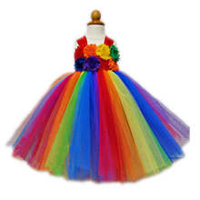 Flower Girls Tutu Princess Dress Ankle Length Rainbow Boutique Girls Ball Gown Party/Wedding/Birthday Dresses For 2-10Y PT227 green little girls dresses ankle length satin tulle ball gown kids wedding party dresses flower girls dresses