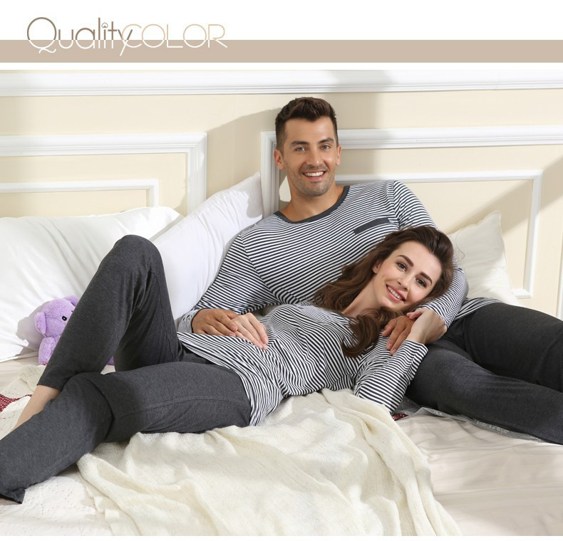 Spring Top Quality Homewear Couples Casual Striped Pajama Sets Women Modal Sleepwear Suit Female Long Sleeve T Shirt +Pants