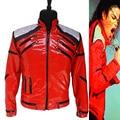 Rare MJ Michael Jackson Beat It Chaqueta de Cuero Ocasional de la Cremallera Lentejuelas Rojo Dancer Muestra Colección Regalo de Halloween