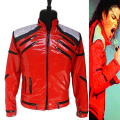 Rare MJ Michael Jackson Red Beat It Zipper Sequins Leather Jacket Casual Dancer Shows Collection Gift Halloween