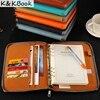 A5 Leather Spiral Notebook Zipper Binder Agenda Planner Organizer Macaron Large Capacity Padfolio Document Organizer Caderno
