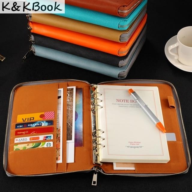 K و KBOOK KK009 دفتر الجلود A5 A6 الموثق دفتر دوامة دفتر يوميات جدول مخطط 2018 سعة كبيرة Padfolio Cardeno