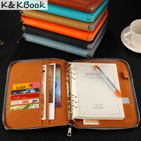A5 Leather Spiral Notebook Zipper Binder Agenda Planner Organizer Macaron Large Capacity Padfolio Document Organizer Caderno