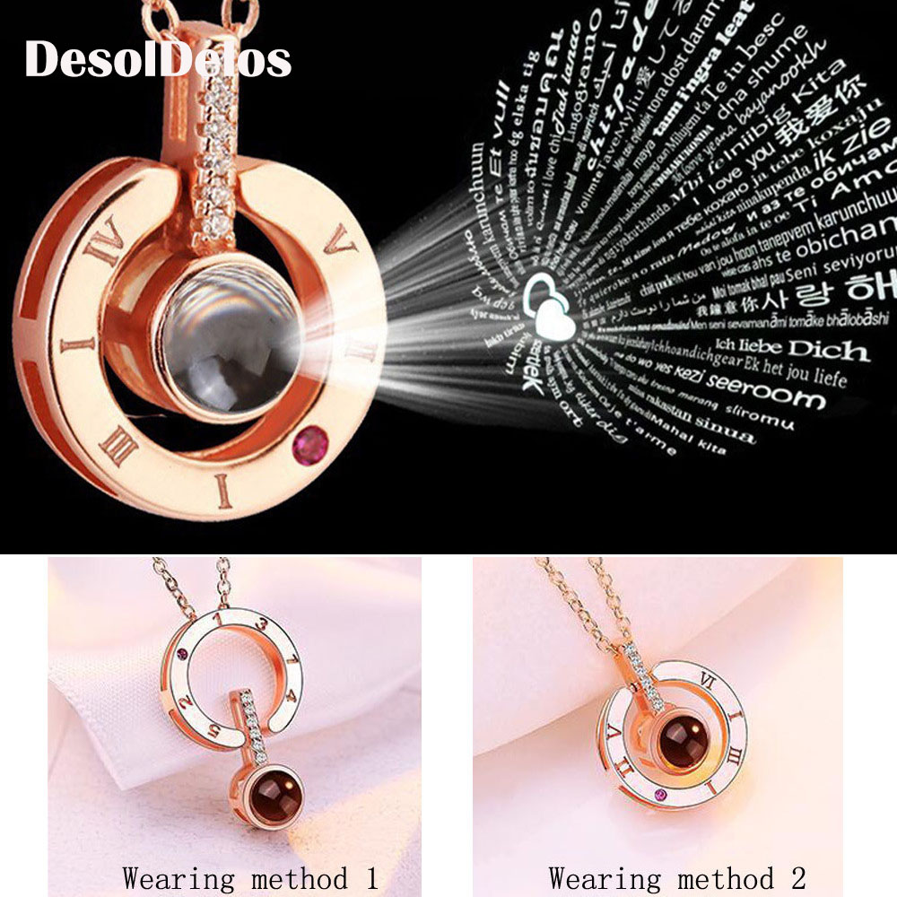 Dropshipping Hot 100 Languages Projection I Love You Pendant Necklace For Women Romantic Choker Necklace Love Wedding Gift in Pendants from Jewelry Accessories