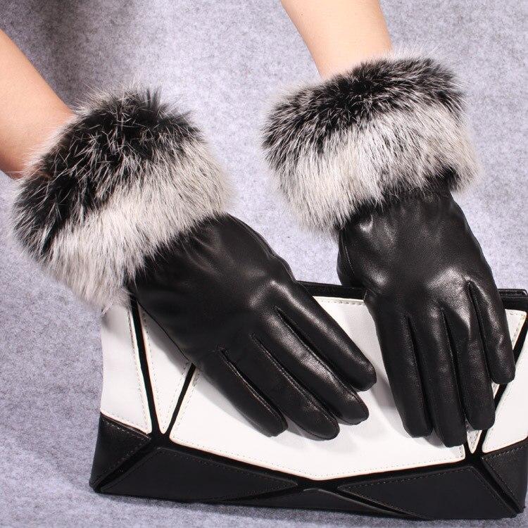 Зимние аксессуары для женщин, перчатки из овечьей кожи, кожаные перчатки, женские кожаные перчатки, теплые милые перчатки из кроличьего мех